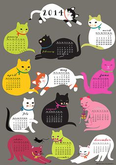 Cats Calender 2014downloadable and self printable by sevenstar
