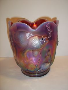 Fenton Glass PLUM OPALESCENT CARNIVAL ATLANTIS FISH VASE Ltd Ed