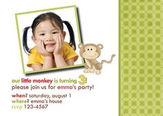 Super cute monkey party invitation    www.jwilliamscommunications.com  fineprints.etsy.com    illustration by jessica weible     Who doesn't want  the perfect party invitation for their child's party?