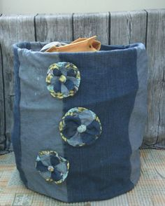 9fbd1fb6 I reuse old denim to made this toy storage. I have this basket ,it's spiral  wire very good but the fabric became rugged so I use old denim to repair it.