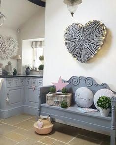 Kitchen corner...grey bench...grey heart...pink star..hints of colour.