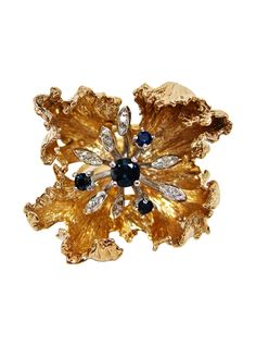 14 K Yellow and White Gold, Sapphire, and Diamond Flower Ring