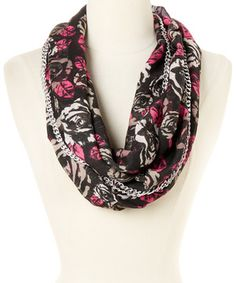 Look at this #zulilyfind! Betsey Johnson Pink Chain Link Digital Rose Infinity Scarf by Betsey Johnson #zulilyfinds