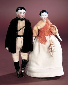 Antique Dolls and Toys of LEGO - Session 1: 118 Pair,German Porcelain Dollhouse Gentleman and Lady