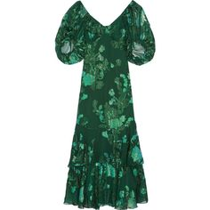 Anna Sui Ruffled fil coupé silk-blend chiffon midi dress (9 200 ZAR) ❤ liked on Polyvore featuring dresses, green, chiffon slip, flutter-sleeve dresses, chiffon midi dress, midi dress and green ruffle dress