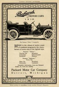Packard motor car, vintage car clip art, antique vehicle illustration, old magazine advertisement, packard touring car 1910