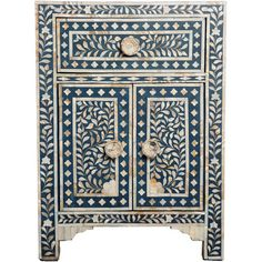 Add an exotic touch to your bedroom or bathroom with this  cabinet, showcasing mother of pearl inlays and a vine leaf design.  Team with deep hues and dark w...