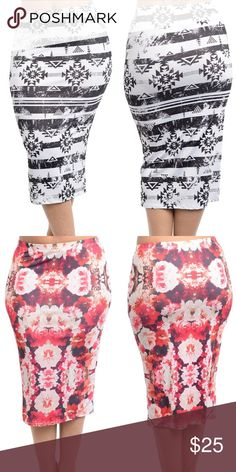 ef0e152c7b plus size fitted pencil skirts printed plus size skirt. black white Aztec  or red rosed