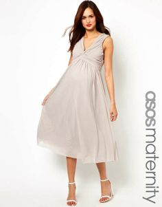 ASOS maternity | ASOS Maternity Exclusive Midi Dress With Knot Front And V Back #asosmaternity #midi #dress