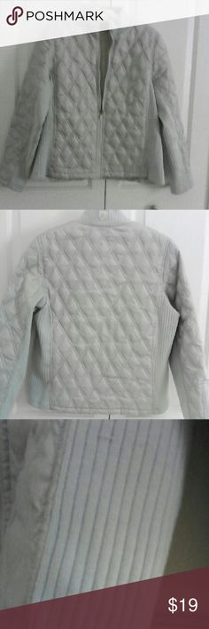 "🐬 Baby Ice Blue Quited/Knit Jacket 🐬 ""Fashion is instant language.""--Miuccia Prada  Baby Ice Blue jacket in good condition.No front pockets. 3 zippered, 1 mesh inside. Washed up great. I noticed 2 pulls inside on french seam, no way deters from this well constructed jacket. Pic 3 shows two snags, Pic 4 shows discoloration. 20"" across bust and 24"" long. Please ask questions. Ruff Hewn Jackets & Coats"