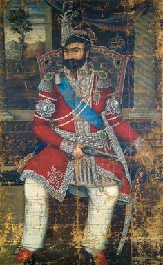Portrait de muhammad shah qajar par « ahmad » daté 1257 h. = 1841 huile sur toile signée en bas à gauche : (raqam besafheh befarman)