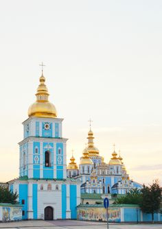 St. Michael monastery, Kiev, Ukraine. This blue is a common color for churches in Kiev. Isn't it great!?