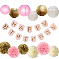 Paxcoo Pink and Gold Party Supplies with Happy Birthday Banner for Birthday Decorations - http://www.partysuppliesanddecorations.com/paxcoo-pink-and-gold-party-supplies-with-happy-birthday-banner-for-birthday-decorations.html