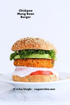 These Spicy Chickpea Lentil Burgers have mung dal, chickpeas and taco spice. Add avocado, chipotle aioli for a delicious burger. Burger Recipes, Veggie Recipes, Whole Food Recipes, Vegetarian Recipes, Cooking Recipes, Healthy Recipes, Vegan Veggie Burger, Vegan Burgers, Falafel