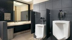 """Urinal Screens are offered in a multitude of materials and size options. These urinal screens are wall mounted and come in 42"""" Heights and choice of 12"""", 18"""" and 24"""" Widths. Urinal Screens are available in Baked Enamel, Phenolic Core, Plastic Laminate, Solid Plastic Materials or choose from 3 textures in Stainless Steel.   #restroomdividers #bathroompartitions"""