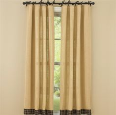 "Black Burlap & Tie Sturbridge Curtain Panels 72"" x 63"""