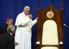 Pope Francis Concludes U.S. Tour in Philadelphia - NBC News ~ Pope Francis gestures as he commends the Papal chair made for him by inmates at Curran-Fromhold Correctional Facility on September 27, 2015 in Philadelphia <3  <3