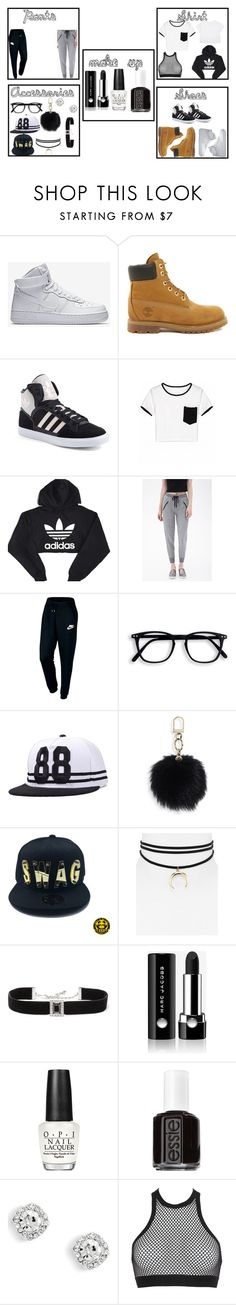 """Black and White"" by dkandrews on Polyvore featuring Timberland, adidas, Forever 21, NIKE, Tory Burch, Jules Smith, Kenneth Jay Lane, Marc Jacobs, OPI and Essie"
