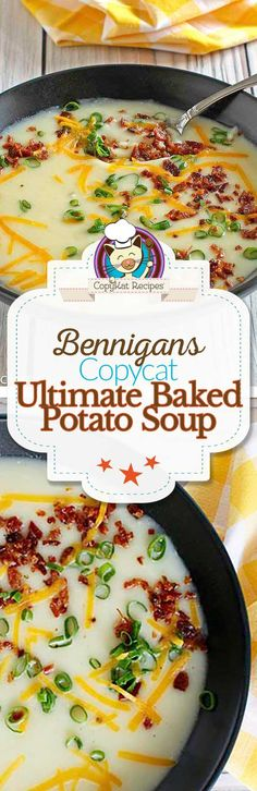 Recreate Bennigan's Ultimate Baked Potato Soup at home with this easy copycat recipe. #copycat #copycatrecipe #soup #potato