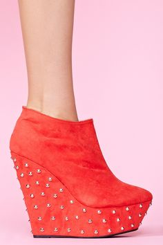 Studded Wedge Boot - Red
