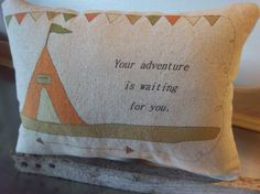 Adventure pillow summer camp throw pillow by SweetMeadowDesigns