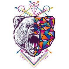Bear - geometric animal series on inspirationde Geometric Logo, Geometric Animal, Adobe Illustrator Tutorials, Bear Pictures, Animal Sketches, Arte Pop, Animal Design, Bear Design, Animal Paintings