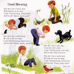 Good Morning from The Art of Children's Picture Books: Poems to Read to the Very Young, Illustrated by Eloise Wilkin English Stories For Kids, Short Stories For Kids, Nursery Rhymes Poems, Kids Poems, Rhymes For Kids, Poetry Books, Vintage Children's Books, Children's Book Illustration, Childrens Books