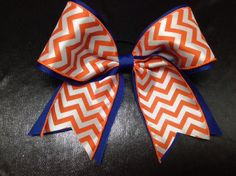 Blue And Orange Chevron Cheer Cheerleading Hair Bow #Handmade