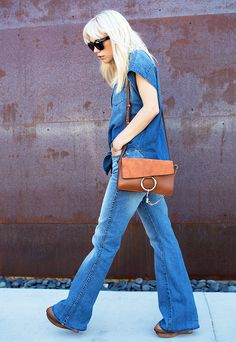 9 Outfit Formulas Every Woman Should Have on Hand via @WhoWhatWear // #3 Denim Shirt + Blue Jeans + Shoulder Bag