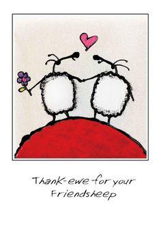 """Friendsheep"" card by Ann Gadd."