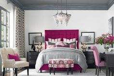 Gray bedroom with pink