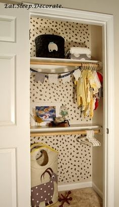 "A ""spotted"" nursery closet with fierce animal print 