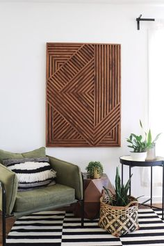 Discover recipes, home ideas, style inspiration and other ideas to try. Diy Wand, Diy Wall Art, Modern Wall Art, Fabric Wall Art, Art Deco Wall Art, Reclaimed Wood Art, Geometric Wall Art, Wood Pieces, Art Pieces