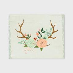 Antler Print 8x10 Printable Floral Antler by PaperCanoePrintables