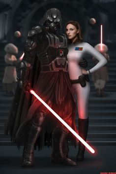 Emperor Vader and Grand Admiral Amidala by David Sunoo