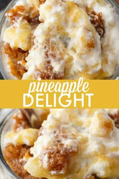 - Pineapple Delight Pineapple Delight – Filled with the sweet flavors of toffee and pineapple in a creamy topping. This dessert may not be the prettiest, but it sure tastes delicious. Fluff Desserts, Köstliche Desserts, Delicious Desserts, Yummy Food, French Desserts, Pineapple Delight, Pineapple Cobbler, Pineapple Pudding, Crushed Pineapple