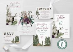 Into the Wild forest wedding suite Template Printable Wedding Party Invites, Wedding Napkins, Printable Wedding Invitations, Wedding Suite, Party Invitations, Deer Wedding, Forest Wedding, Rustic Wedding, Into The Wild