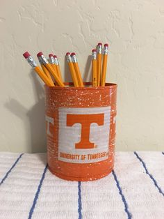 TENNESSEE VOLUNTEERS College Can Holder/Pencils/Pens/Brushes/Markers/Flowers/Money/Candy/Gift Holder by KreationsGalore on Etsy