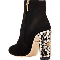 Dolce & Gabbana Embellished-Heel Ankle Boots