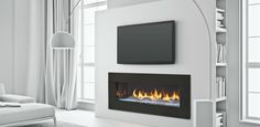 Warm up to our most luxurious fireplace yet. Heat & Glo PRIMO Series Gas Fireplace, where intricate modern styling meets innovative heating technology. Fireplace Tv Wall, Linear Fireplace, Fireplace Design, Fireplace Ideas, Farmhouse Fireplace, Living Room Tv, Living Room With Fireplace, Veranda Design, Contemporary Bedroom