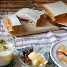 bkf = ham and egg sandwiches, broccoli Camembert cheese soup, yogurt with apple, pecan and honey