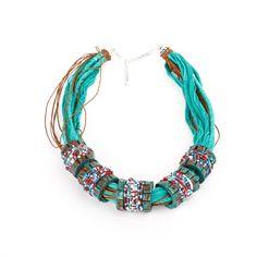 Clay jewelry necklace green Necklacestatement от MariParijewelery