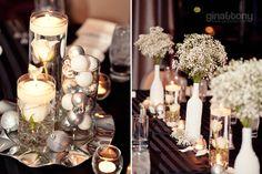 winter wedding diy centerpieces; baby's breath centerpieces