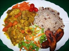 Plate of Jamaican food. Curry chicken is my favorite dish