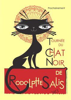 MY CAT ART - zambayes - Reprodução em cartoon do pôster do Chat Noir, ano de 2013