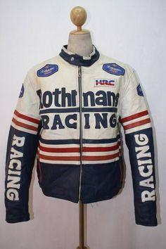 Vtg ROTHMANS Motorcycle Padded Leather Jacket CAFE RACER Racing XLarge