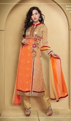 Be the one to define your own style wrapped in this beige and orange georgette embroidered salwar suit. The lovely floral patch, jaal, lace and resham work a substantial characteristic of this attire. #LatestEmbroideredCasualSuitWithPant