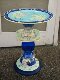 SOLD - recycled glass, birdbath, hand made and designed by Karen Talbot