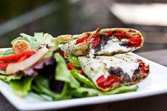Portobello Mushroom, Roasted Red Pepper & Goat Cheese Wrap | bsinthekitchen.com #wrap #lunch #food