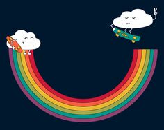 Rainbow Halfpipe Stretched Canvas